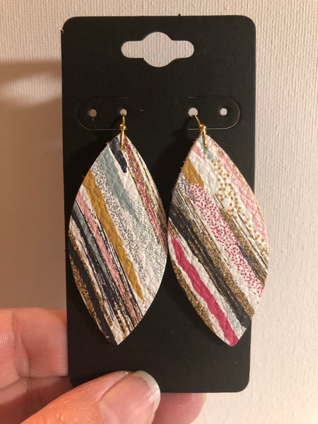 White with Variegated Stripes in Black Sage Green Pink and Black Leather Earrings