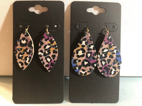 Tan Plum Mustard Yellow and Cobalt Blue Cork with Black and White Leopard Print on Leather Earrings
