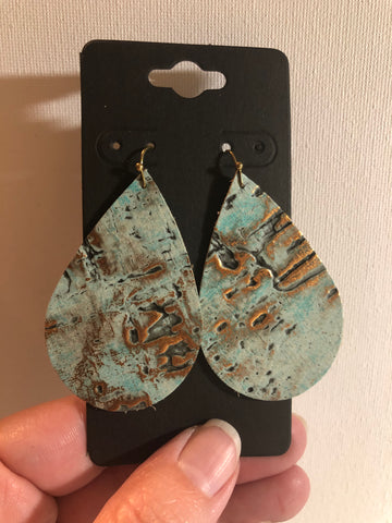 Turquoise Leather Distressed with Gold Earrings