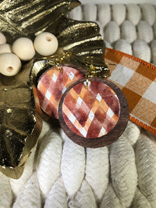 Wood Layered with Cork - Rust and Orange Layered Chevron