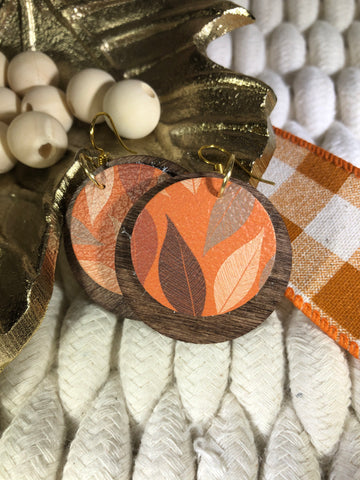 Wood Layered with Leather - Orange with Fall Colored Leaves