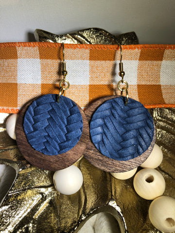 Wood Layered with Cork/Leather - Navy Blue Fishtail