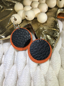 Layered Leather Earrings - Black and Orange