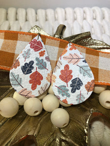 White with Fall Colored Leaves Print Leather Earrings