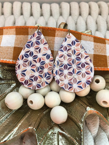 White Cork with Triangle Abstract Print in Fall Colors Leather Earrings