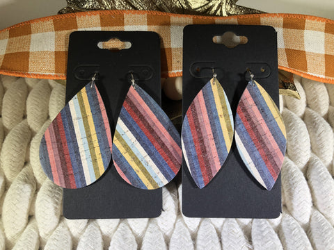 Multi-colored Striped Leather Earrings