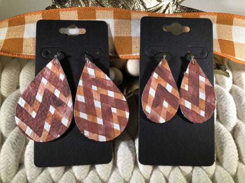 Rust and Orange Abstract Chevron Print Leather Earrings
