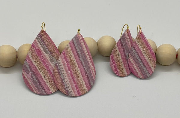 Pinks Lavenders and Gold Variegated Stripe Leather Earrings