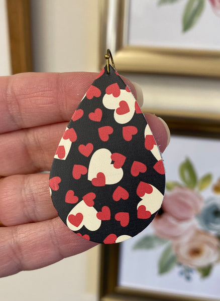Black Smooth Leather with Red and Cream Hearts Earrings
