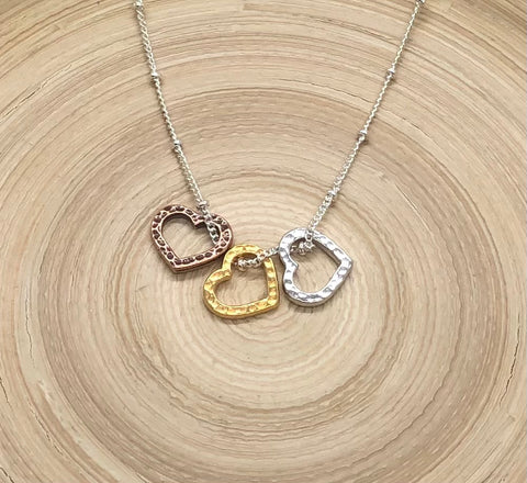 Mixed Metal Heart Trio Necklace