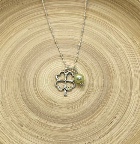 Dark Silver 4 Leaf Clover Necklace