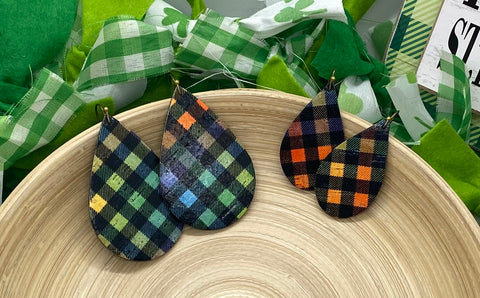 Black Rainbow Plaid Cork and Leather Earrings