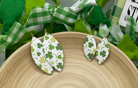 White Shamrock and Clover Print Leather Earrings