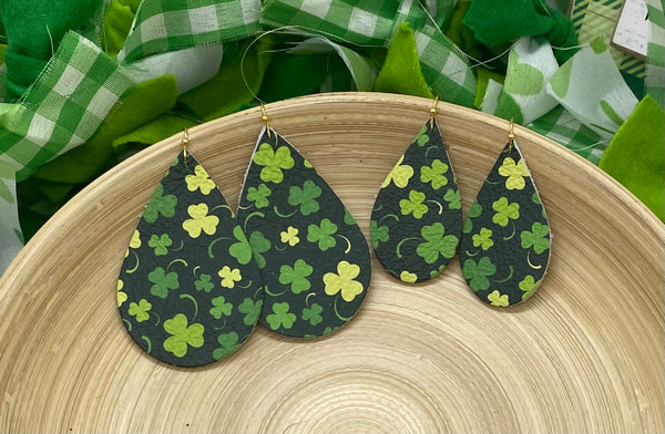 Green Shamrock and Clover Print Leather Earrings