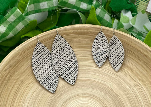 Black Rain Striped White Leather Earrings