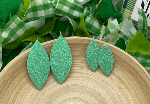 Sparkly Light Green Fine Glitter Leather Earrings