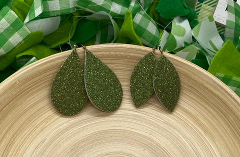 Sparkly Olive Green Fine Glitter Leather Earrings