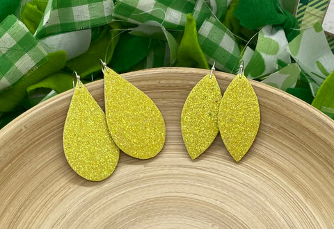 Sparkly Lemon Yellow Fine Glitter Leather Earrings