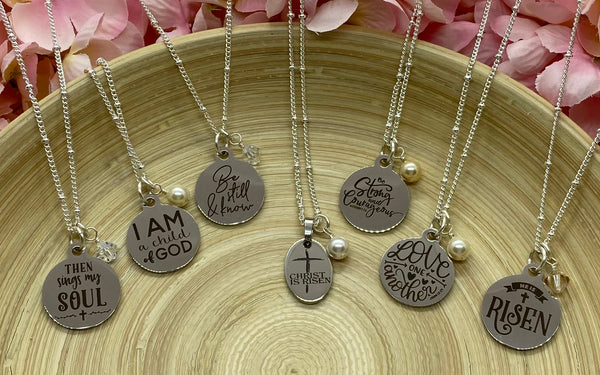 """Christ Is Risen"" Silver Charm Necklace"
