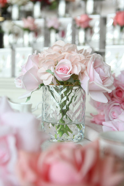 HCF11 CLEAR Herringbone Glass Flowers - Roses & Hydrangeas Blush
