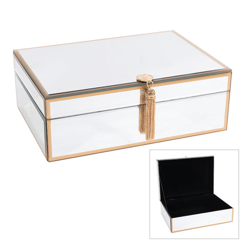 LIJOJL JOJO SILVER JEWEL BOX W/GOLD EDGE LGE