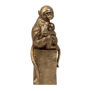 NTKWMP KIRWIN RESIN GOLD MONKEY ON PEDESTAL
