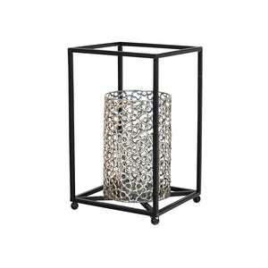 VNMUHS MURPHY METAL BLK SILVER TABLE HURRICANE