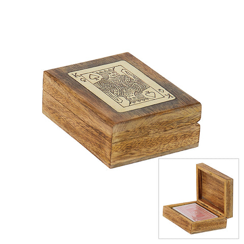 WJTRCA TRIESTE MANGO AND BRASS PLAYING CARD BOX