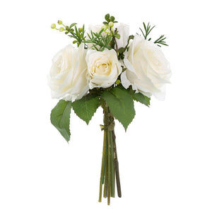 R130W Rose Berries & Rosemary Bouquet 27cm White