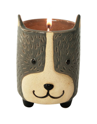 UH139415 Dog Soy Candle Grey & Sand 9cm