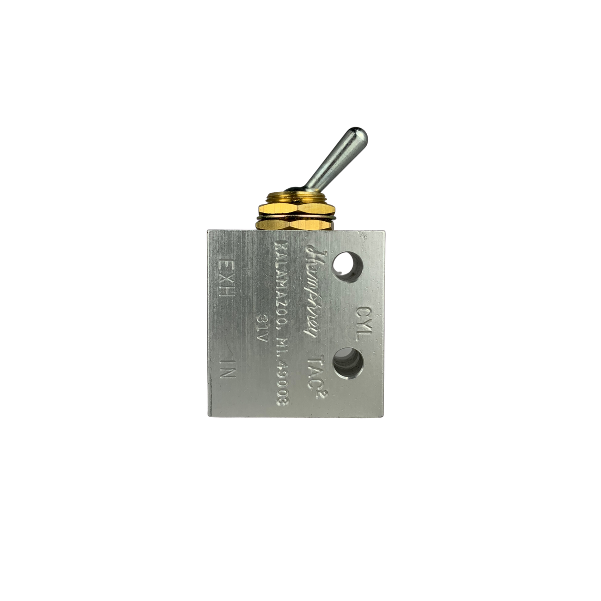 31V is a rectangular block with qa toggle switch. 1 threaded port on top face/ 2 threaded ports on bottom face