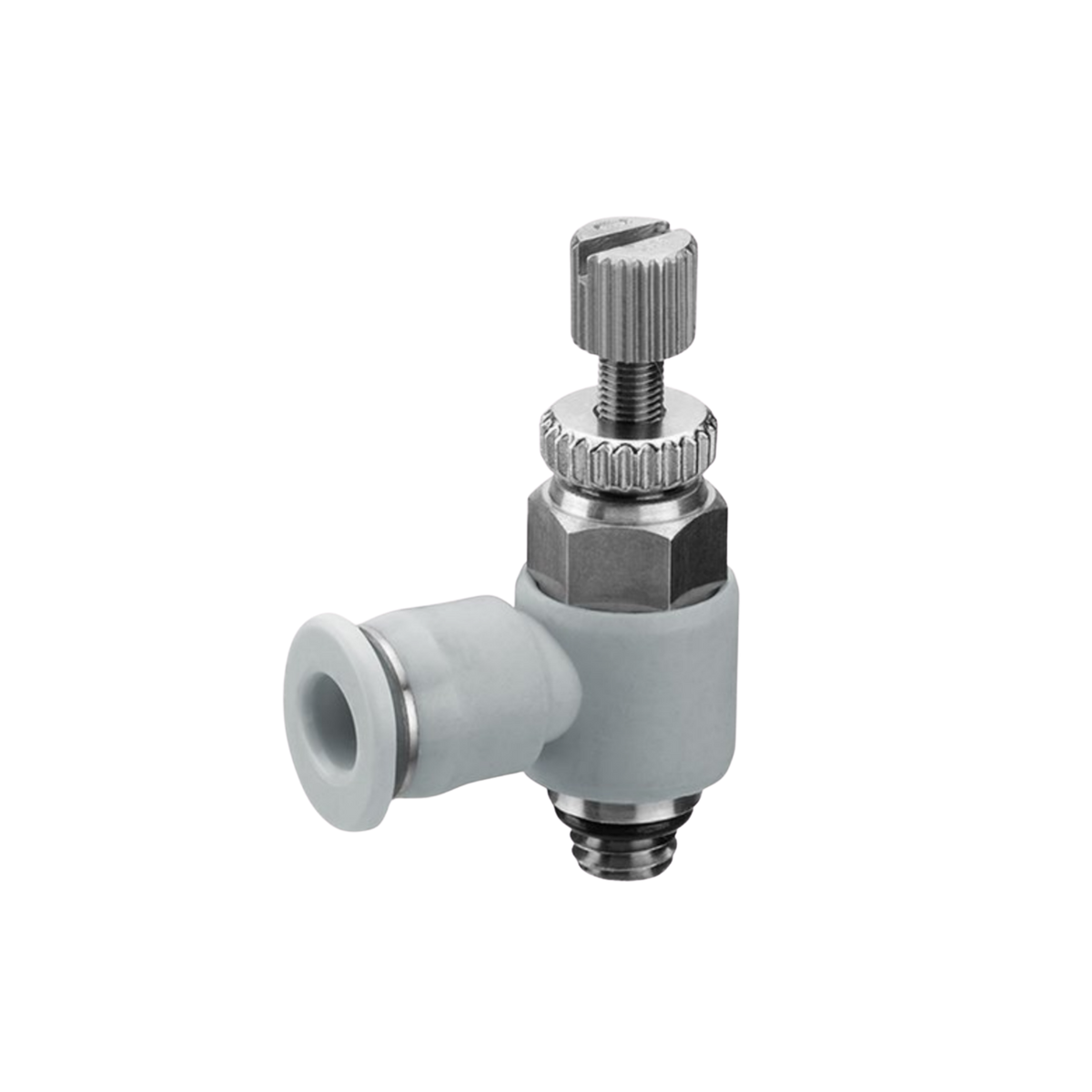 90 degree check valve fitting with adjustable knob on top, male thread on the bottom and female push in on the side
