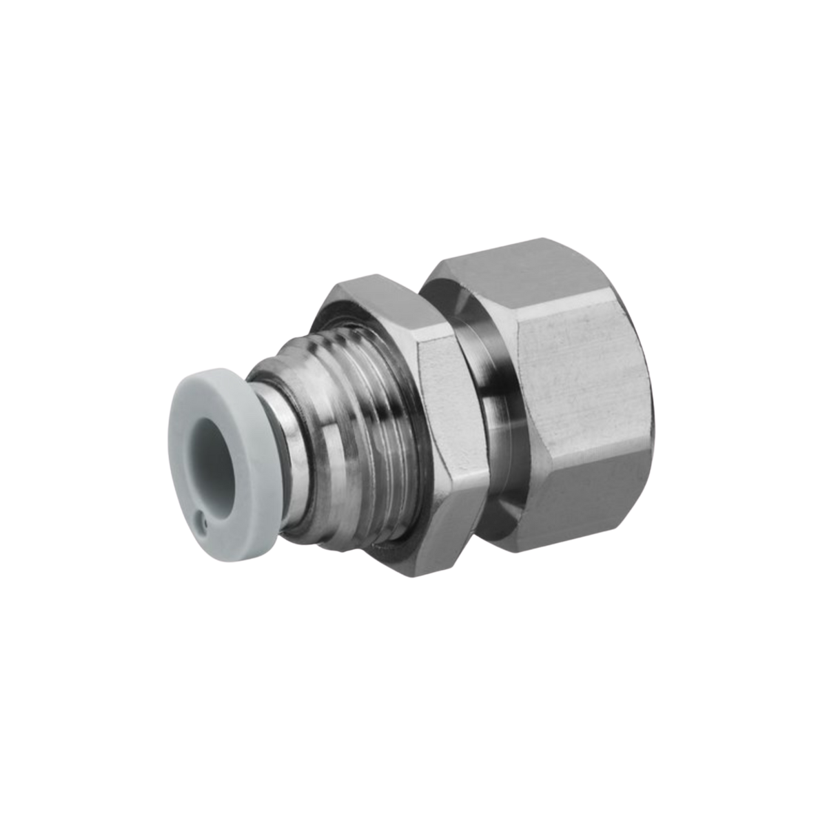 Staright metal hex shaped bulkhead connector. female push in fitting with internal thread.