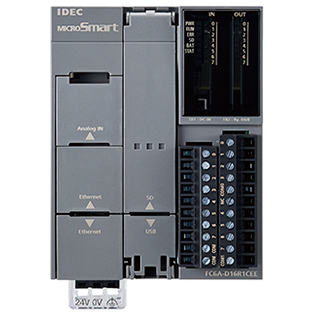 Gray square housing  connects to din rail