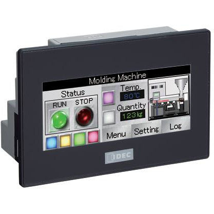 Black rectangular housing with LED display