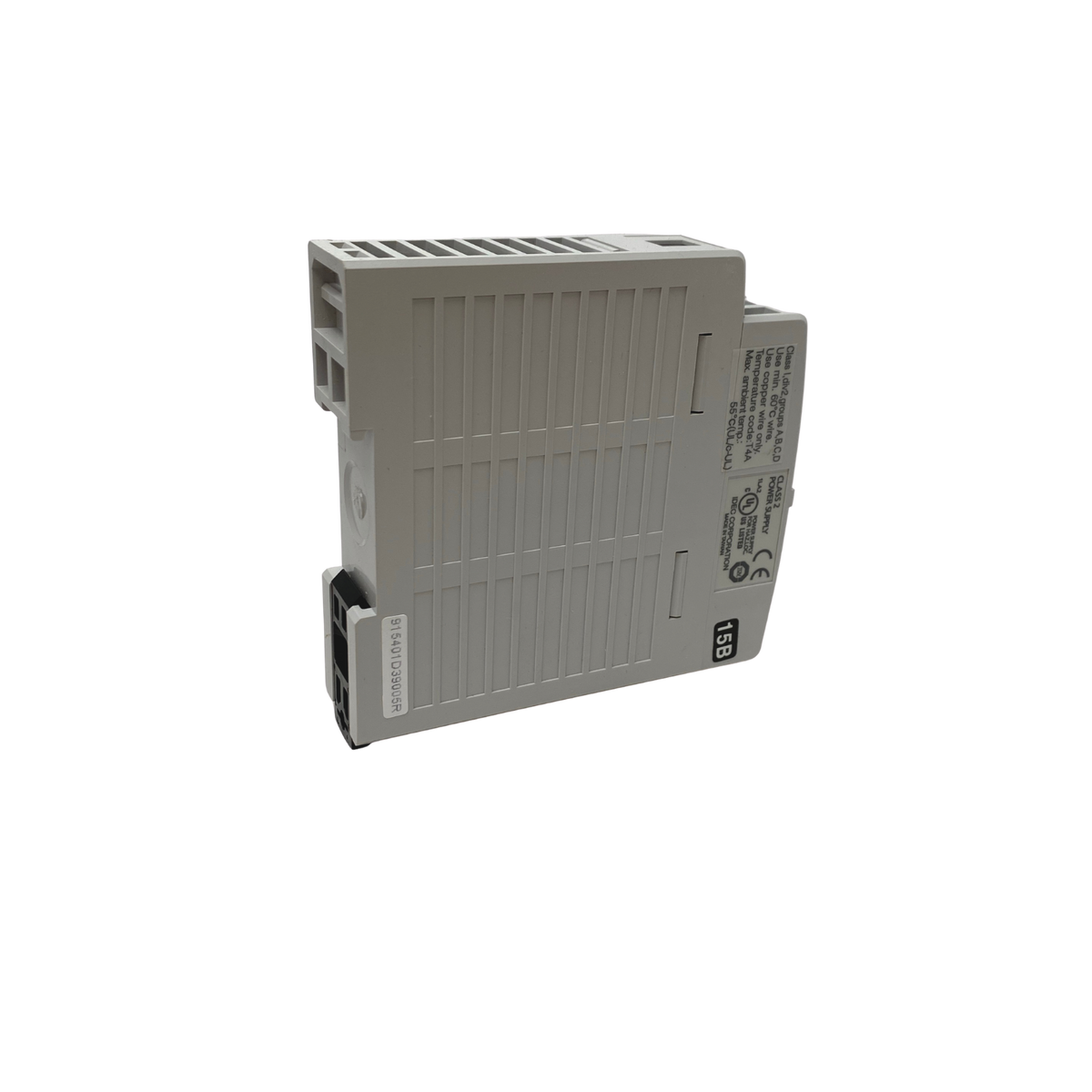 Grey plastic housing that has connection points on the front face. connect to din rail