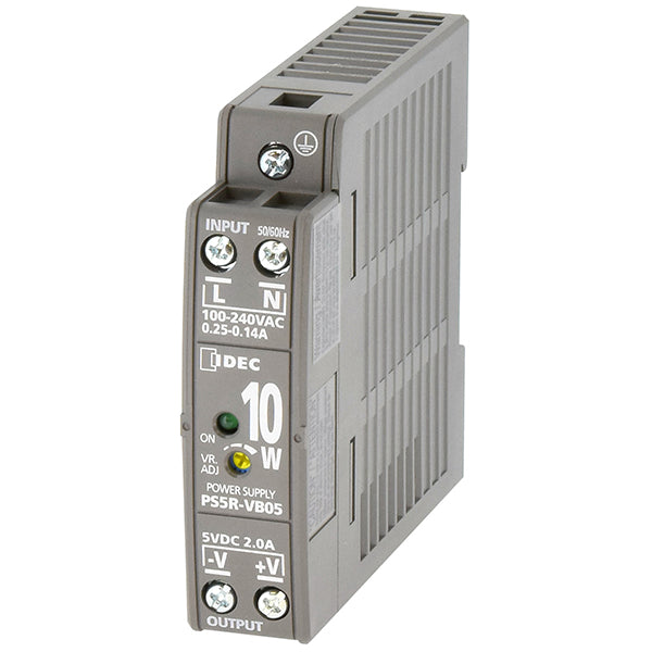 Grey plastic rectangular housing connects to din rail