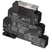 Black plastic that connects to a din rail.