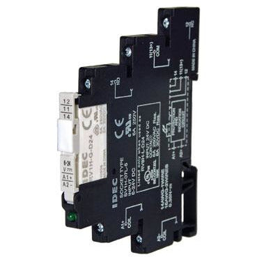 Black plastic housing that connects to a din rail.
