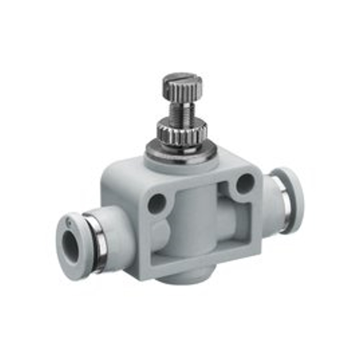 Plastic straight check valve with female push in on both sides and adjustable knob on top