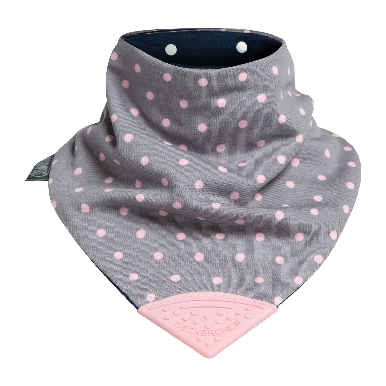 Polka Dot Pink Medium Neckerchew - Cheeky Chompers