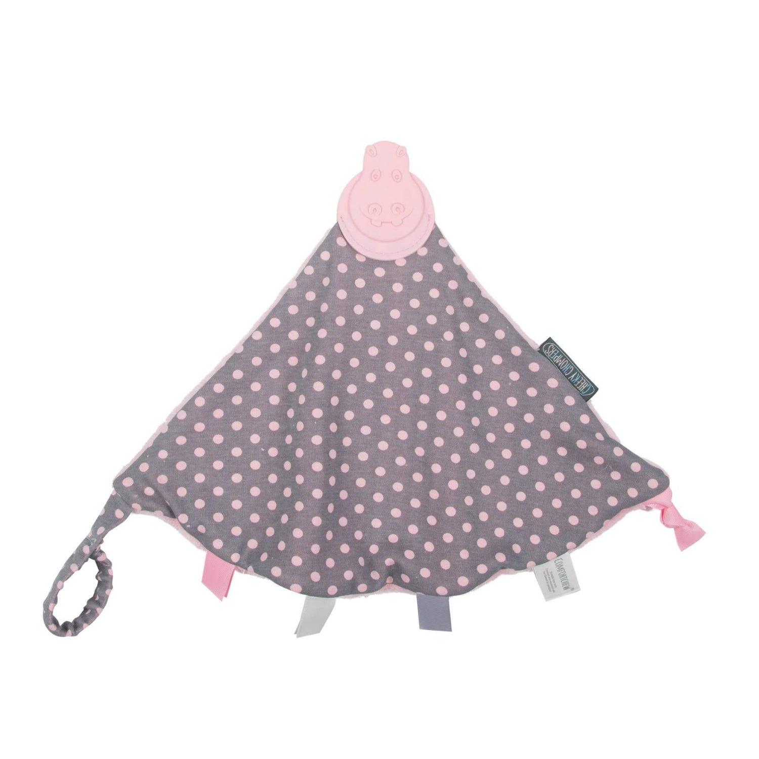 Polka Dot Pink Comfortchew - Personalised Baby Comforter With Teether - Cheeky Chompers