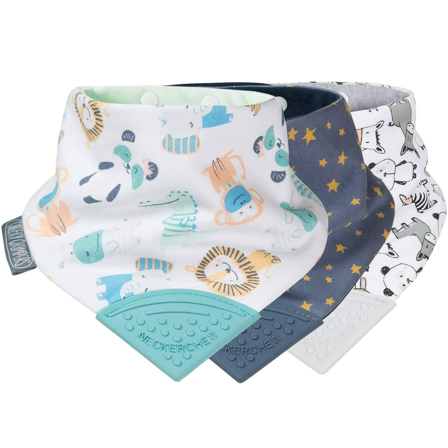 Cheeky Animals & Stars Neckerchew Teething Dribble Bib 3 Pack - Cheeky Chompers