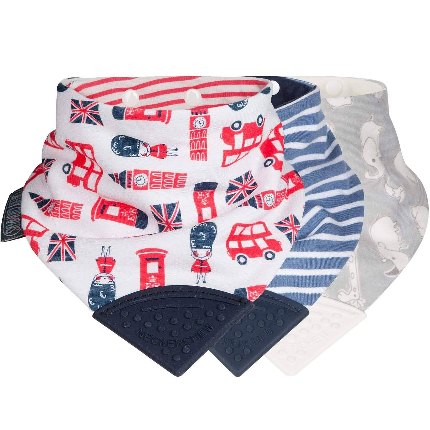London Town & Preppy Neckerchew Teething Dribble Bib 3 Pack - Cheeky Chompers