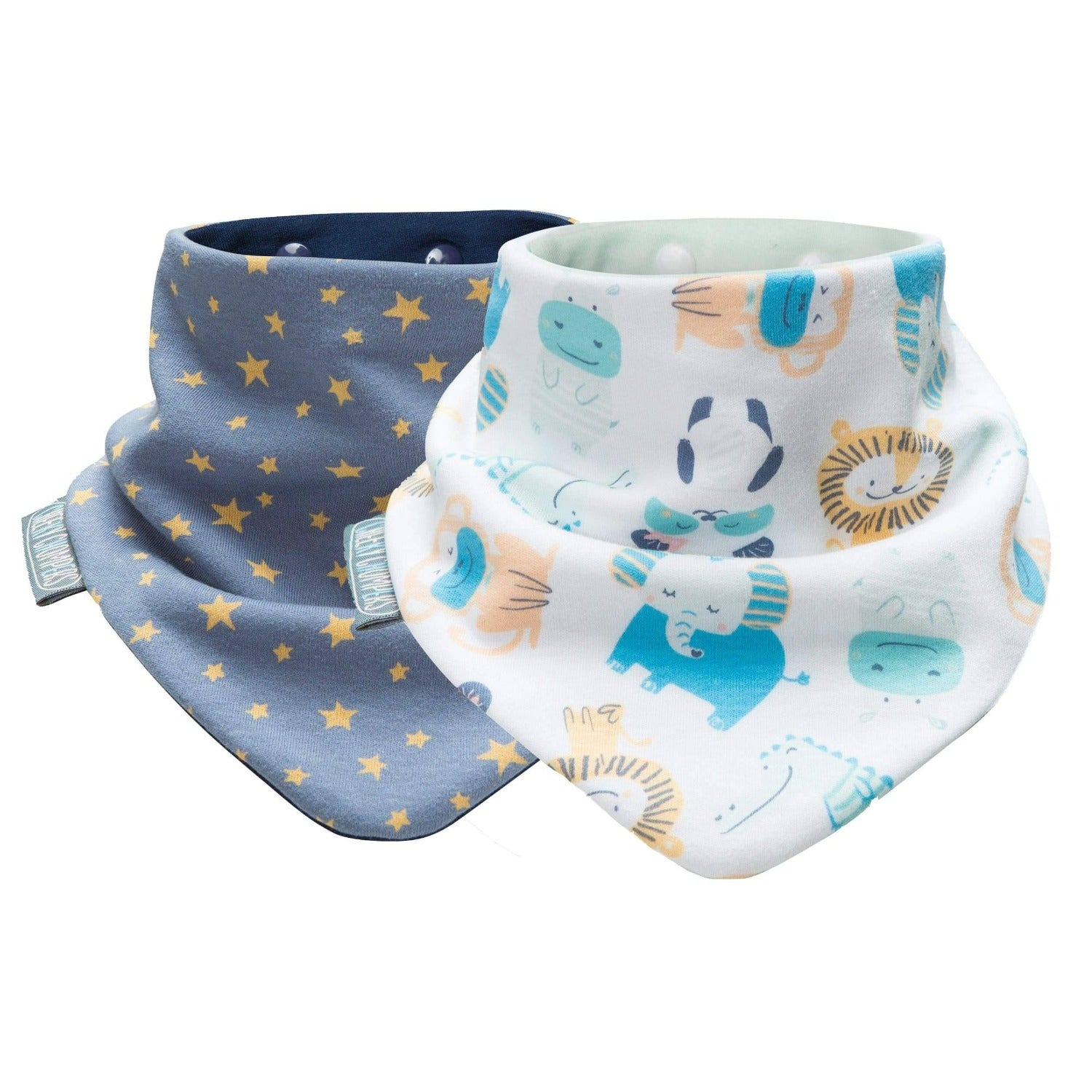 Midnight Stars and Cheeky Animals Neckerbibs - Cheeky Chompers