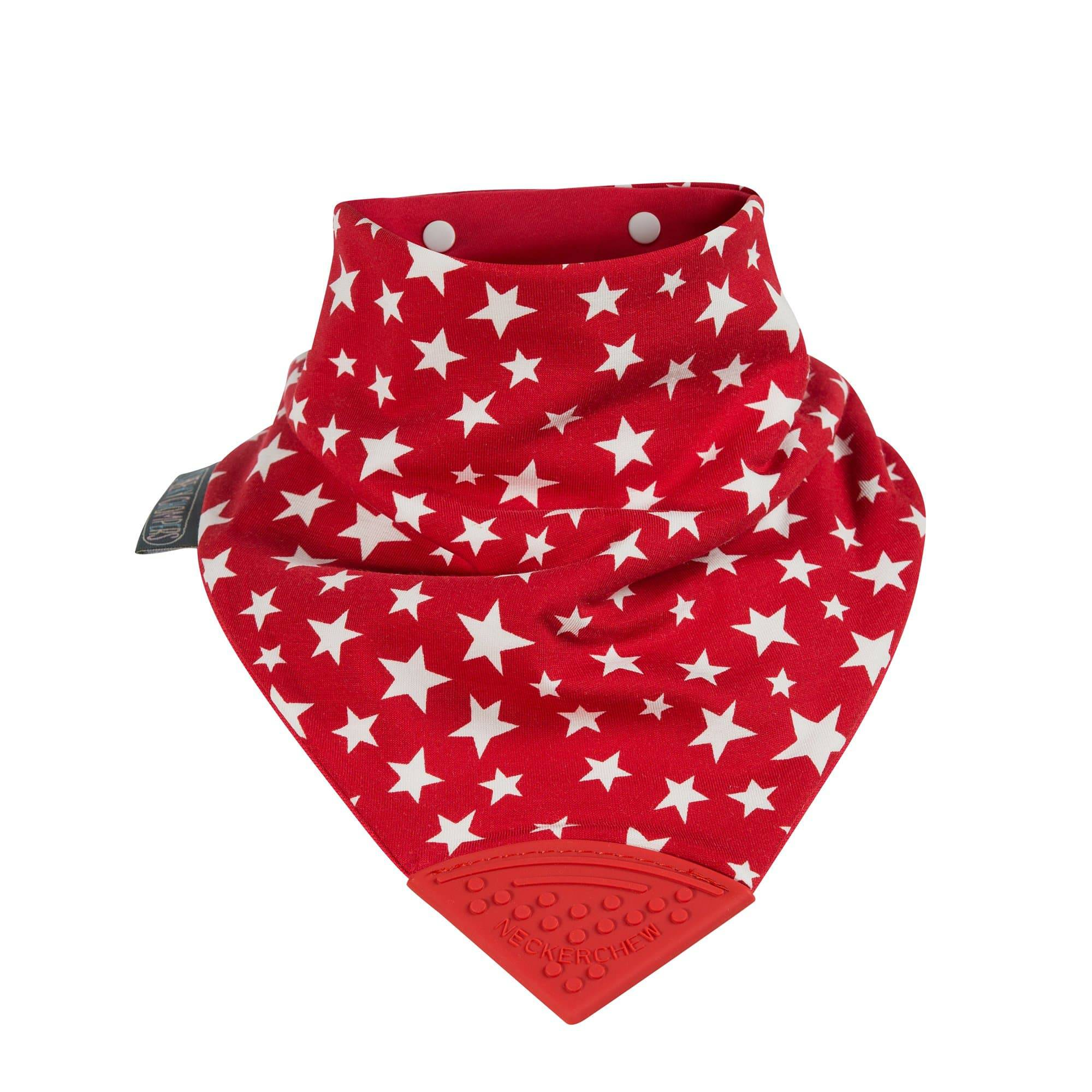Red Stars Medium Neckerchew - Cheeky Chompers