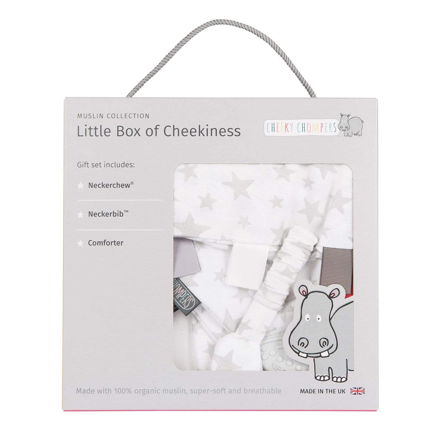 Silver Stars Muslin Gift Set - Gift Box - Cheeky Chompers