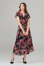 Load image into Gallery viewer, Joseph Ribkoff black& pink floral wrap dress 202429