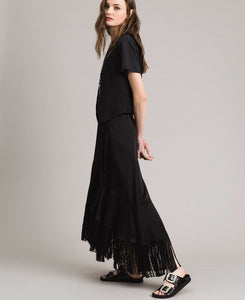 TWINSET Fringe mid-length wrap skirt