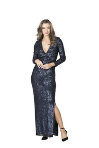 Lisa Barron Hollywood Wrap Sequin Gown - Navy